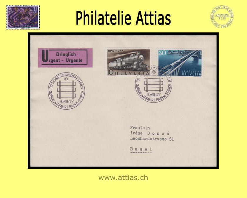 Ch 1947 Fdc 100 Jahre Schweizer Eisenbahn 2 Briefe Mit Adresse